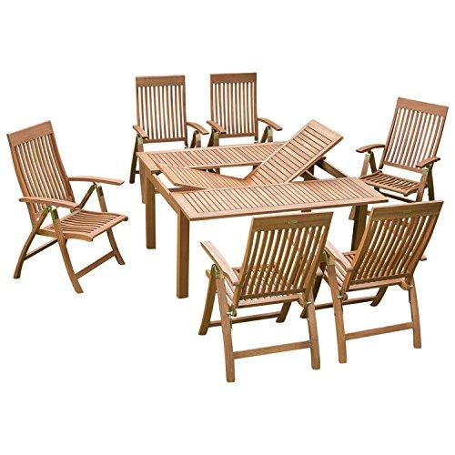 gartenmoebel-einkauf Holz Garnitur COMODORO 7-teilig, 6X Klappsessel, 1x Ausziehtisch 100/150x150cm, Eukalyptus geölt. FSC®-Zertifiziert