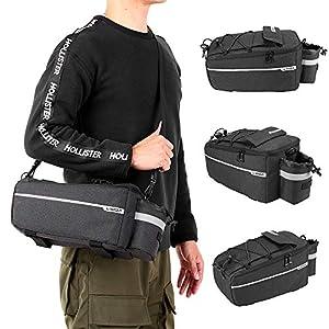 Lixada Bicicleta Estante Trasero Almacenamiento Equipaje Bolsa Mochila Reflectante Bolsa (Negro)