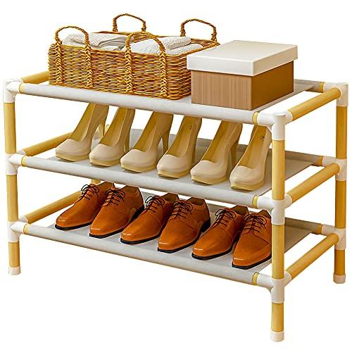 Scarpiera in legno,piccola scarpiera per ingresso,scarpiera impilabile,montaggio rapido,senza attrezzi,per corridoio,armadio,dormitorio,camera da letto,soggiorno(standard a 3 livelli)