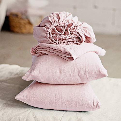 Lausonhouse Linen Sheet Set,Luxurious 100% Pure French Linen Sheet Set,Deep Pocket,4 Pieces - King