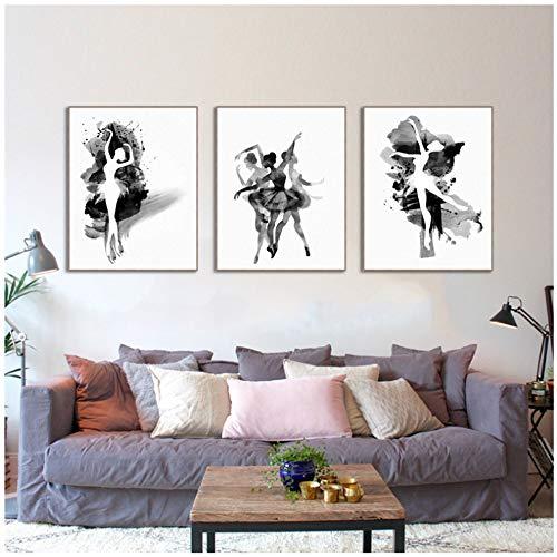 """JinYiGlobal Lienzo Arte de la Pared Acuarela Abstracta Bailarina en Danza Cartel de impresión Cuadros en Blanco y Negro 40x60cm (15.7""""x23.6) x3 Sin Marco"""