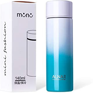 ALNAE 水筒 ミニ ポケトル ボトル ステンレス マグボトル 140ml 二重構造 真空断熱 軽量 コンパクト 保温保冷 魔法瓶 タンブラー 子供 男女兼用 ホワイトブルー