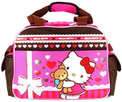 Rosa and braun Hello Kitty Teddy Bear Hug Duffle Bag - Hello Kitty Travel Bag by KDJ