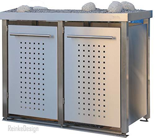 Mülltonnenbox aus Edelstahl mit Edelstahlpfosten, aufgebaut (2X 120l mit Pflanzwanne und F-Design)