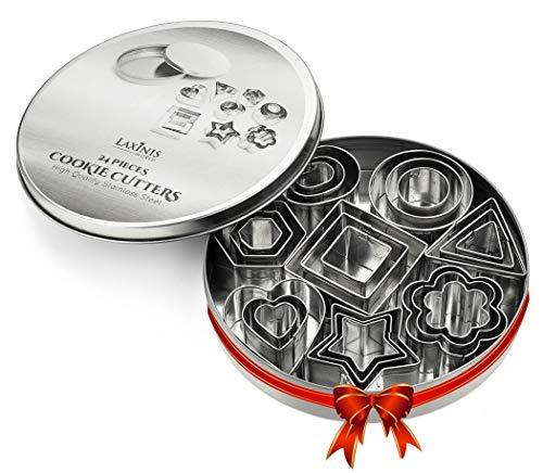 24ピース ミニクッキーカッターセット - ハート、星、花、幾何学形状の詰め合わせサイズ - プレミアムステンレススチールミニビスケットカッター、フォンダン、シュガーペーストカッター。