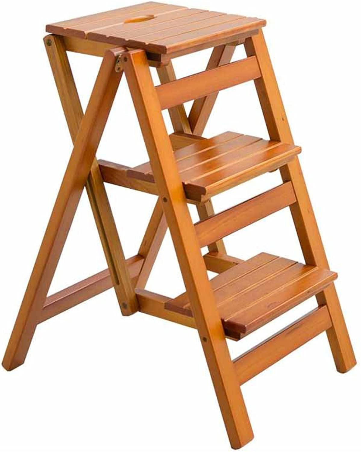 GLJJQMY Folding Ladder Pedal 3 Stepping On Solid Wood Household Portable Multi-purpose Dual-use A-type Indoor Climbing High Stool Mobile Rack 100kg Capacity (walnut)