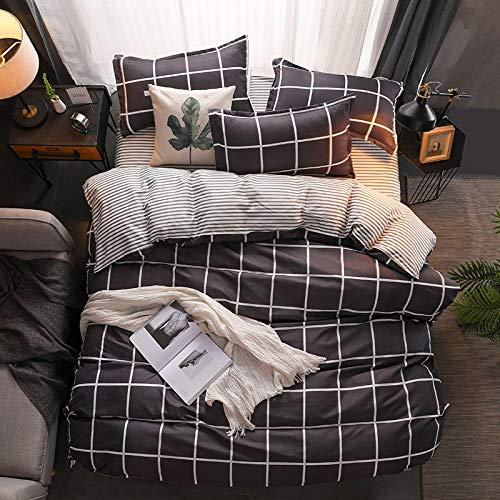 QWEASDZX Duvet Cover Classic Pattern Microfiber Duvet Cover Bedding Zipper Pillowcase Delicate And Soft Three-Piece 2.0m