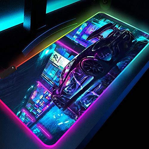Gaming RGB Gamer Large Mousepad LED Lighting USB Keyboard Colorful Desk Pad Mice Mat for PC Laptop Desktop Luxury Sports Car at Night 11.81'x23.62'