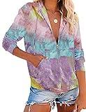 MEROKEETY Women's Long Sleeve Zip Up Hoodie Drawstring Jacket Casual Pockets Sweatshirt, DyePink, L