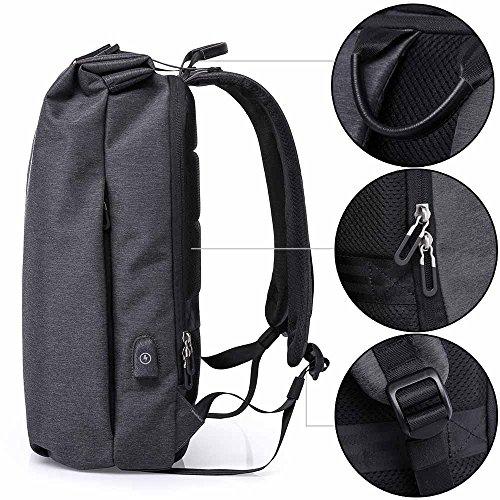 Neuleben Rucksack Wasserdicht Diebstahlschutz USB-Ladeanschluss 15.6 Zoll Laptop Rucksack Damen Herren Arbeitsrucksack Schulrucksack Rucksäcke Daypack (Schwarz)