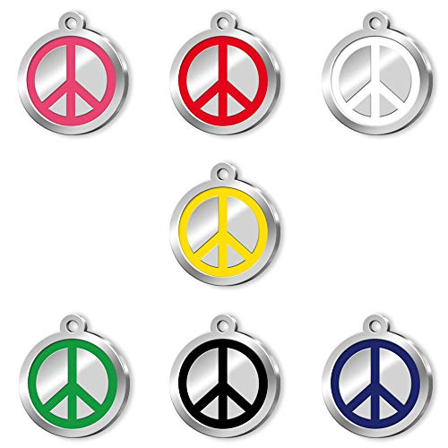 Pet Tag Art Peace Sign Design Hand Enamelled Engraved Personalised Pet Tag, Dog Tag, Pet ID Tag