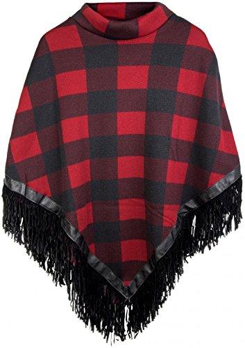 styleBREAKER Feinstrick Poncho mit Karo Muster im 2-Tone Look und Fransen am Saum, Damen 08010002, Farbe:Schwarz-Rot