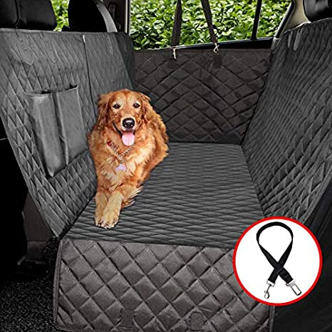 Vailge 100% Waterproof Dog Car Seat Covers, Dog Seat Cover with Side Flaps, Pet Seat Cover for Back Seat - Black, Hammock Convertible: image