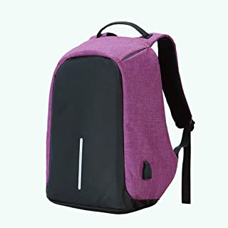 LJJ Fashion Anti-Theft Travel Backpack Men and Women Large Capacity Waterproof Nylon Computer Bag USB Charging Backpack College Student Bag (Color : Purple)