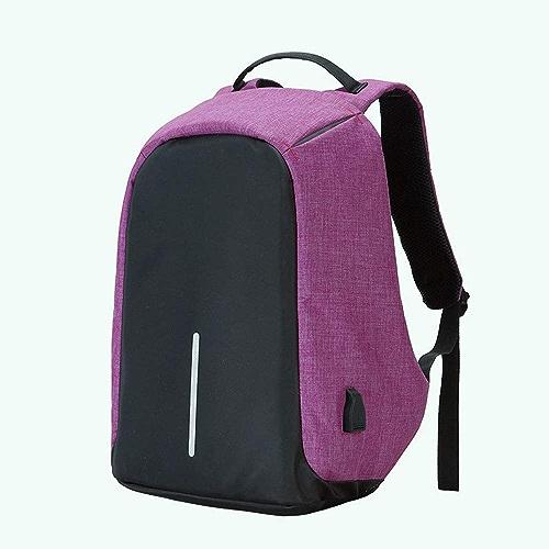 KUVV Durable Sac à dos de voyage anti-vol hommes et femmes grande capacité sac en nylon imperméable à l'ordinateur sac de charge USB sac à dos étudiant (Couleur   violet)