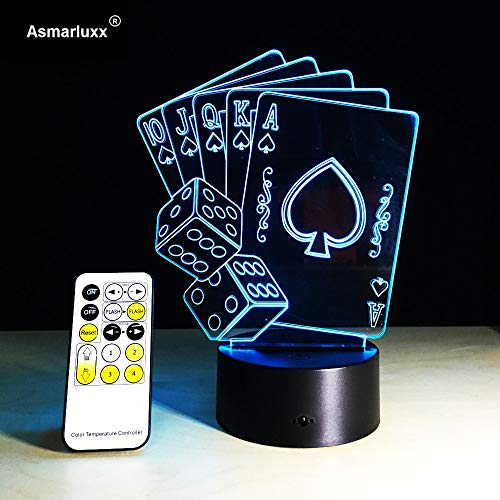 Remote 3D Illusion Poker Cards Or Touch Control LED Desk Table Table Lamp 7 Colors Touch Lamp Kid Family Friend Holiday Kids Gift