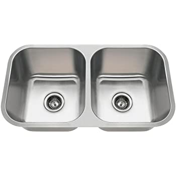3218A 18-Gauge Undermount Equal Double Bowl Stainless Steel Kitchen Sink
