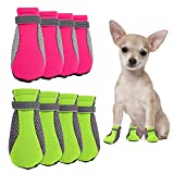 8 Pieces Summer Dog Boots, Lightweight Breathable Mesh Puppy Shoes Soft Pets Paw Protectors and Dog Shoes with Adjustable Reflective Strap and Rugged Anti-slip Sole for Small Medium Dogs Daily Walking