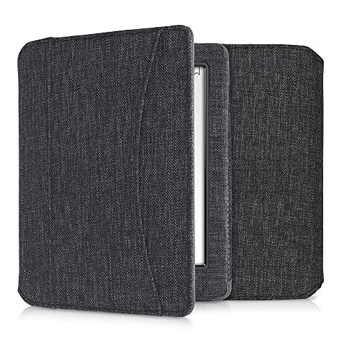 kwmobile Hoesje compatibel met Kobo Glo HD/Touch 2.0 – stoffen hoes met magnetische sluiting, riem, zak – donkergrijs