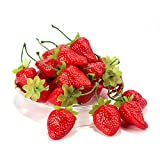 Material: the body and sterm of strawberry are made of eco-friendly plastic, and the leaf is made of silk. Size: Body is about 3.6 x 3 x 2.6 cm,Stem is about 4cm. Weight: about 3g/pc The artificial strawberries look real and lifelike, very hard and d...