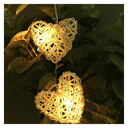 Luces de Cadena Hada de la Navidad luz LED de Cadena 1.1M 10LEDs con Pilas Rota corazón decoración del hogar for Navidad, Año Nuevo, Boda, cumpleaños Navidad (Emitting Color : Warm White)