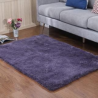 YJ.GWL Soft Shaggy Area Rugs for Bedroom Kids Room Children Playroom Non-Slip Living Room Carpets Nursery Mat Home Decor 4 x 5.3 Feet (Gray Purple)