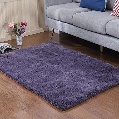 YJ.GWL Soft Shaggy Area Rugs for Bedroom Kids Room Children Playroom Non-Slip Living Room Carpets Nursery Mat Home Décor Rug 4 Feet x 5.3 Feet (Gray Purple)
