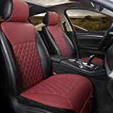 Black Panther 1 Pair Car Seat Covers, Luxury Car Protectors, Universal Anti-Slip Driver Seat Cover with Backrest, Diamond Pattern (Wine Red)