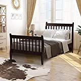 Twin Bed Frame Wood Platform Bed with Headboard and Headboard, Wood Slat Support Bedframe No Box Spring Need Mattress Foundation