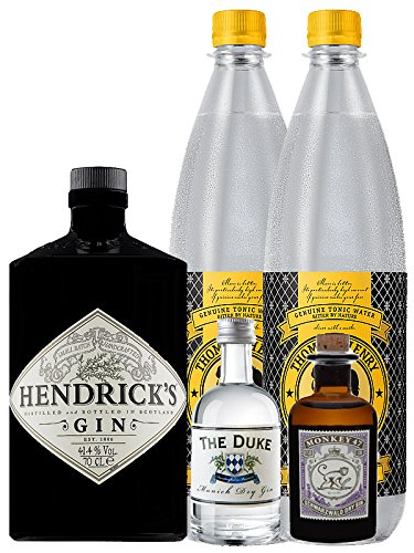Gin-Set Hendricks Gin Small Batch 0,7 Liter + The Duke München Dry Gin 5 cl + Monkey 47 Schwarzwald Dry Gin 5 cl MINIATUR + 2 x Thomas Henry Tonic Water 1,0 Liter