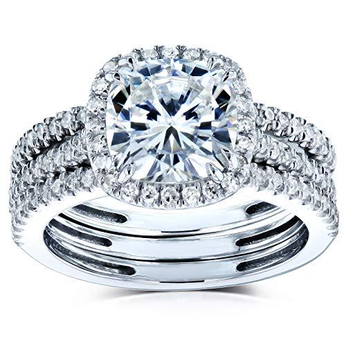 Kobelli Cushion Brilliant Moissanite Halo Bridal Wedding Rings Set 2 1/2 CTW 14k White Gold, 7