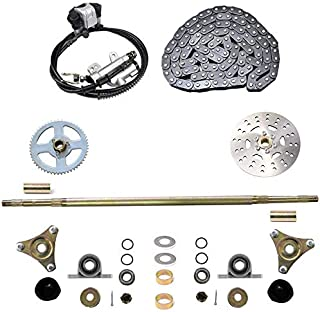 WPHMOTO Rear Axle Assembly Complete Wheel Hub Kit & Brake Assembly & 116 Links T8F Chain for Go Kart Quad Trike Drift Bikes
