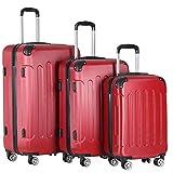 Vojagor® Koffer Trolley Set - 3 teilig groß mittelgroß klein, ABS Kunststoff, 4 Rollen, Hartschale, TSA-Schloss, Farbwahl - Hartschalenkoffer, Reisekoffer, Kofferset, Gepäck, Rollkoffer