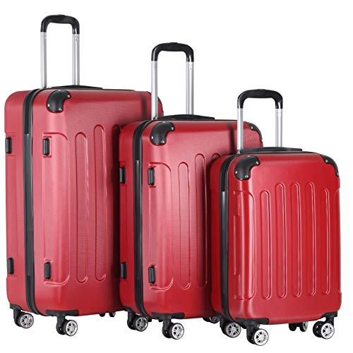 Suitcases – Set of 3 (S, M, L), ABS Hardshell, 4 Spinner Wheels, Telescopic Extendable Handle, Lock, Choice of Colours - Travel Trolley, Luggage (Red)