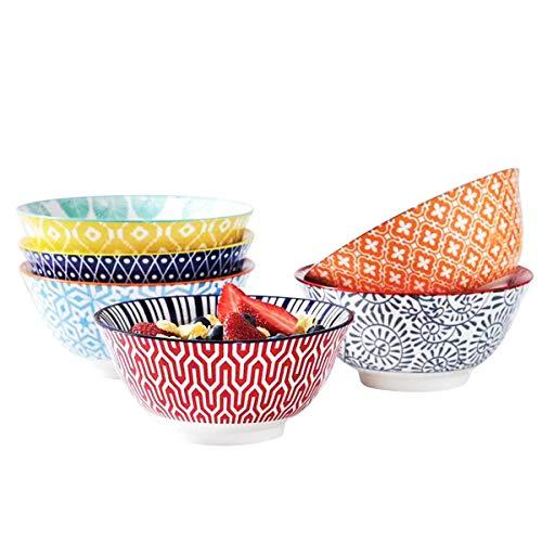 Selamica Porcelain 20oz Bowls Set - Set of 6, 6 inch ceramic bowls for Cereal, Soup, Salad and Pasta, Colorful bowls, Gift Pack