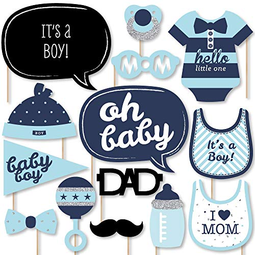 Big Dot of Happiness Hello Little One - Blue and Silver - Boy Baby Shower Photo Booth Props Kit - 20 Count