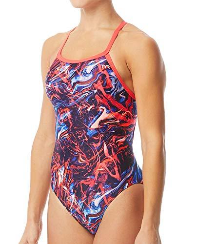 TYR Damen Penello Weibliches Training Diamondfit Durafast One Female Training Badeanzug XX-Small rot/weiß/blau