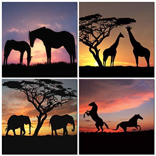 CUFUN Art Cebras elefantes jirafas Silueta de los caballos en el animal...