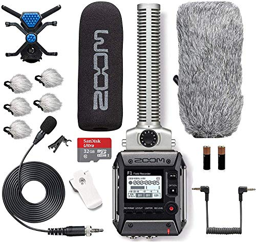 Zoom F1 SP/LP Field Recorder with Shotgun AND Lavalier Microphone COMBO PACK Bundle Includes Deadcat Windscreens & 32GB Micro SDHC Card