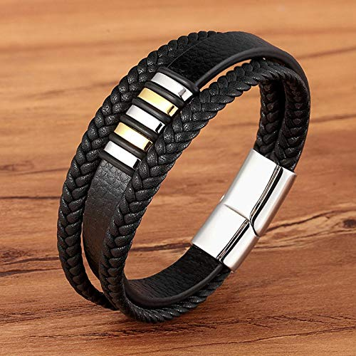 Bracelets Fashion Stainless Steel Charm Magnetic Black Men Bracelet Leather Genuine Braided Punk Rock Bangles Jewelry Accessories Friend BXXG1334