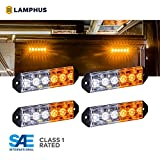 4pc PlanarFlash 6W Amber White LED Flashing Strobe Light Head [Ultra Flat] [SAE Class 1] [72 Flash Mode] [Multi Units Sync-able] [Surface-Mount] Yellow Emergency Grille Police Light for Truck Vehicle