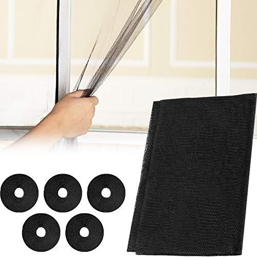 Cortina de Malla de Malla de 5 Piezas Window Net Window Screen Netting 1.3 x 1.5 m Protector de Pantalla de Ventana con 5 Rollos de Cintas Autoadhesivas para Suministros de Cocina para el Hogar, Negro
