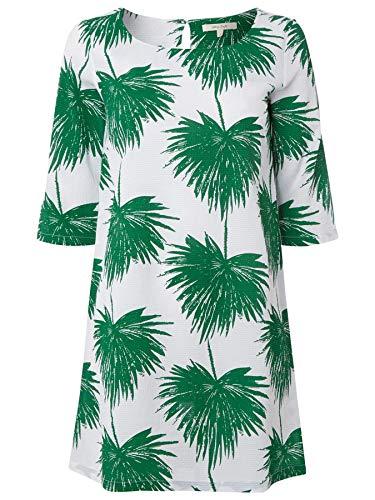 Ex White Stuff Tunika-Shirt, Rundhalsausschnitt, Leinenoptik, 3/4-Ärmel, Weiß / Grün Gr. 36, weiß/grün