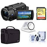 Sony FDR-AX43 UHD 4K Handycam Camcorder Basic Bundle with Bag, 32GB SD Card, UV Filter and Cleaning Kit