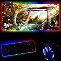 マウスパッド アニメ東方プロジェクトゲームRGBマウスパッドラージロッキングエッジゲームゲーマーLEDマウスパッドソフトラップトップキーボードマット-30x60x0.4cm