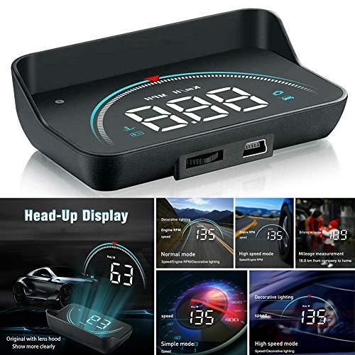 gfyee Auto HUD Head Up Display, 3,5 Zoll Display OBD2 & HUD Display, Head-up-Display, Geschwindigkeitsmesser Auto, Tachometer, Wassertemperaturmesser Motordrehzahl Sicherheitsalarme