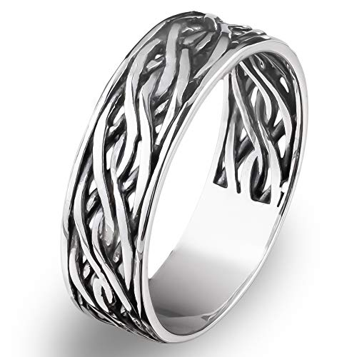 Endless Irish Celtic Knot Band Ring Oxidized 925 Sterling Silver Viking Wedding Eternity Rings Unisex Woven Thumb Ring/Norse Nordic Jewelry for Men Women (9.5)