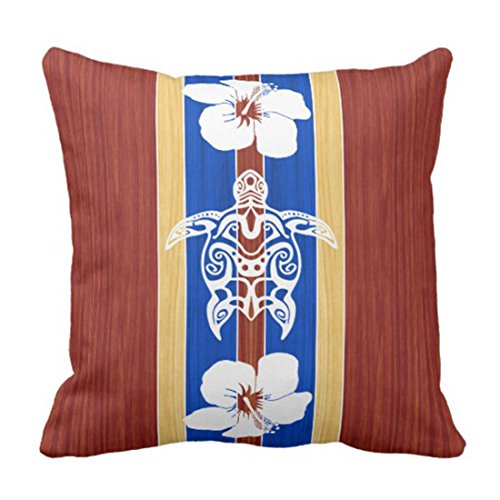 lucies Throw Pillow Cover Vintage Longboard Tribal Honu Tabla de Surf Falsa Retro Surf Funda de Almohada Decorativa Decoración para el hogar Funda de Almohada Cuadrada de 18 'X 18'