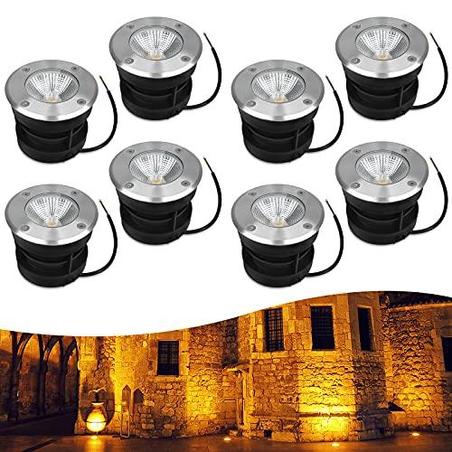 HENGMEI Spot encastrable au sol à LED 8 x 10W Lumières enterrées Extérieur LED Projecteur de sol pour Jardin Pelouse Terrasse, Blanc chaud
