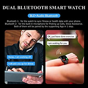 H4 Fitness Health 2in1 Smart Watch for Men Women Smartwatch with All-Day Heart Rate/Blood Pressure/Sleep Monitor IP67 Waterproof Sports Activitity Tracker Bluetooth Watch (Blue)